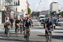 Commuting on bicycle in Copenhagen. Royalty Free Stock Photo
