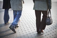 Commuting feet. People walking on tje street Stock Image