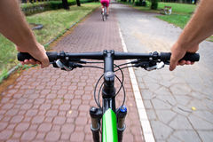 Commuting On Bicycle Path Royalty Free Stock Image