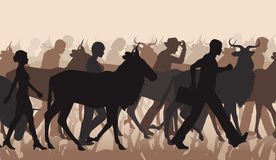 Commuting people and wilderbeest. EPS8 editable vector cutout illustration of a mixed herd of wildebeest and people commuting or migrating Stock Photos