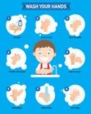 Como às mãos de lavagem corretamente infographic ilustração royalty free