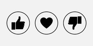 Como ícones Polegar para cima e para baixo com o coração, ícones do vetor ilustração royalty free