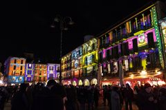 COMO, ИТАЛИЯ - 28-ое декабря 2017: illumina светов рождества Стоковое Изображение