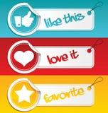 Como, amor e Tag do favorito. Imagem de Stock Royalty Free