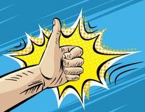 Como, bien, muy bien, haciendo autostop gesto del viaje Ejemplo retro cómico del vector del estilo del arte pop Imitación del lib libre illustration