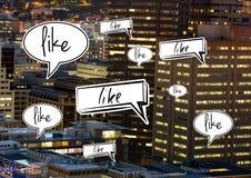 Como burbujas de la charla en ciudad Imagen de archivo