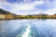 Como city in italian lake district from ferry boat. Italy. Stock Photo