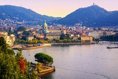 Como city town center on Lake Como, Italy, in warm sunset light royalty free stock image