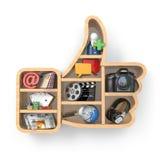 como Concepto social de los media Pulgar ascendente e iconos de los apps Foto de archivo