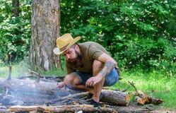 Como construir fora a fogueira Arranje os galhos das madeiras ou as varas de madeira que estão como uma pirâmide e coloque as fol fotos de stock