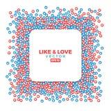 Como e do amor símbolos dos locais do social, polegar ascendente e ícones dos corações Foto de Stock Royalty Free