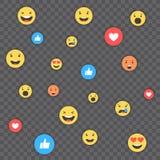Como e do coração e do emoji ícones Vídeo vivo do córrego, bate-papo, gostos, emoji Reações compreensivo de Emoji Redes sociais a ilustração do vetor