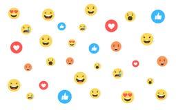 Como e do coração e do emoji ícones Vídeo vivo do córrego, bate-papo, gostos, emoji Reações compreensivo de Emoji Redes sociais a ilustração stock