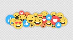 Como e do coração e do emoji ícones Vídeo vivo do córrego, bate-papo, gostos, emoji Reações compreensivo de Emoji Redes sociais a ilustração royalty free