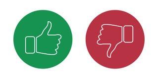 Como e do desagrado ícones ajustados Polegares acima e polegares para baixo Ilustração do vetor ilustração do vetor
