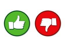 Como e do desagrado as mãos etiquetam o verde e o vermelho ilustração do vetor