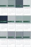 Como e a meia-noite coloriram o calendário geométrico 2016 dos testes padrões ilustração stock