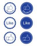 Como/facebook de Facebook nos sigue los botones Imagen de archivo