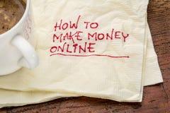 Como fazer o dinheiro em linha Imagens de Stock Royalty Free