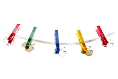 Como iconos en una cuerda para tender la ropa Imagen de archivo libre de regalías