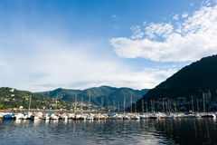 Como Lake. The port in the city of Como, Italy, in the Como Lake Stock Photo