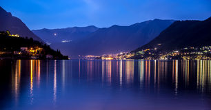 Como lake at blu hour. Como lake from country at blu hour whit light reflex royalty free stock images