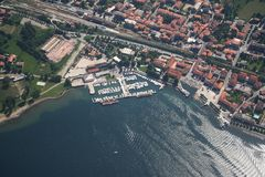 Como lake - Colico. Aerial views of the docks of Colico Stock Photo