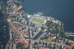 Como lake - Como city. Aerial views of the stadium of Como Royalty Free Stock Photography