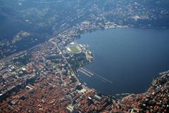 Como lake - Como city. Panoramic aerial view of Como city Stock Photo