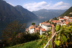 Como Lake, Italy. View on the Como Lake from the town of Nesso, Italy royalty free stock photos