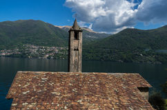 Como. Lake Como in Italy beautiful scenery surrounded by snow capped mountains and lush Forrest Royalty Free Stock Image