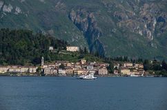 Como 22. Lake Como in Italy beautiful scenery surrounded by snow capped mountains and lush Forrest Stock Photos