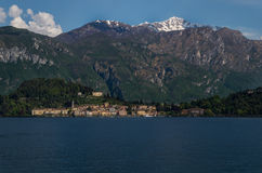 Como 23. Lake Como in Italy beautiful scenery surrounded by snow capped mountains and lush Forrest Royalty Free Stock Photo