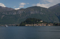 Como. Lake Como in Italy beautiful scenery surrounded by snow capped mountains. A view to Belagio Stock Image