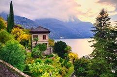 Como Lake, Italy. Luxury villa and garden on Como Lake by Milan, Italy Stock Images