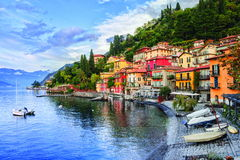 Como Lake, Italy. Town of Menaggio on lake Como, Milan, Italy stock photo