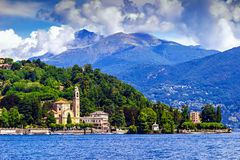 Como lake, Italy. View of houses and hotels on the coast of Como lake, Italy Royalty Free Stock Photos