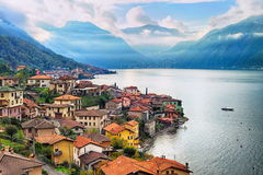 Como Lake, Italy. View of Como Lake, Milan, Italy, with Alps mountains in background royalty free stock photography