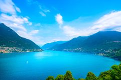 Como Lake landscape. Lake, alps and Carate Laglio village view, Stock Photos