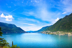 Como Lake landscape. Cernobbio village view, Italy Royalty Free Stock Photos
