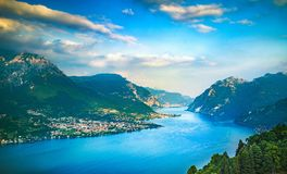 Como Lake landscape. Lake, alps and village view, Italy Royalty Free Stock Photos