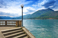 Como Lake landscape. Lamp, stairs and water. Bellagio Italy stock photo