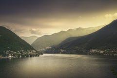 Como Lake landscape. Village view, Italy Royalty Free Stock Photo