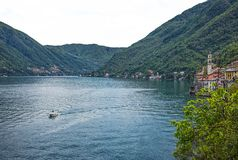 Como Lake landscape. Villages, trees, water and mountains. Italy. royalty free stock photo