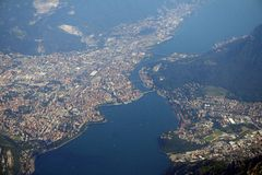 Como lake - Lecco. Aerial view di Lecco Stock Photo