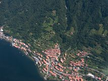 Como lake - Lezzeno. Panoramic aerial view of Lezzeno Stock Photos