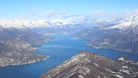 Como lake. Panoramic view of the Como lake from the Saint Primo Mount, Lombardy, Italy stock video footage