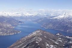 Como lake. Panoramic view of the Como lake from the Saint Primo Mount, Lombardy, Italy stock photo