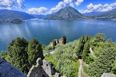 Como lake from ruined tower Stock Photos