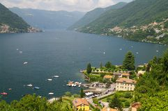 Como lake. Surrounded with villages,mountains in lombardia in italy Stock Photos